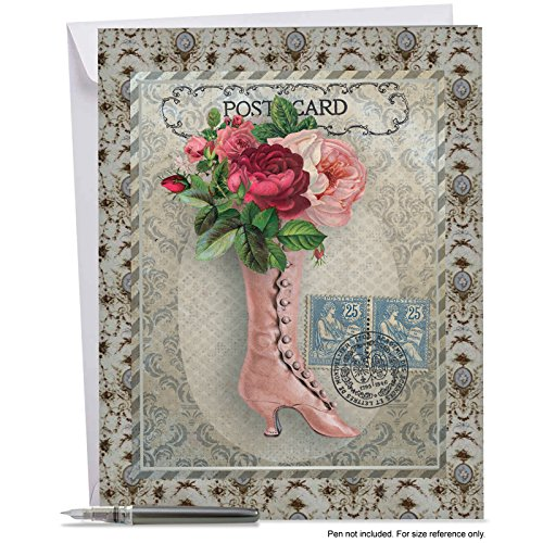 J6637EMDG Jumbo Mother's Day Card: VINTAGE KICKS - Featuring Victorian Style Footwear Collaged with Flowers and an Ornate Frame, With Envelope (Extra Large Version: 8.5'' x - American Frames Coupon