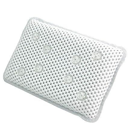 Bathtub Pillow, Waterproof Soft Bath Pillow Cushion with 8 Non-Slip Suction Cups, Ergonomic Home Spa Headrest Neck Shoulder Support Cushion(White)