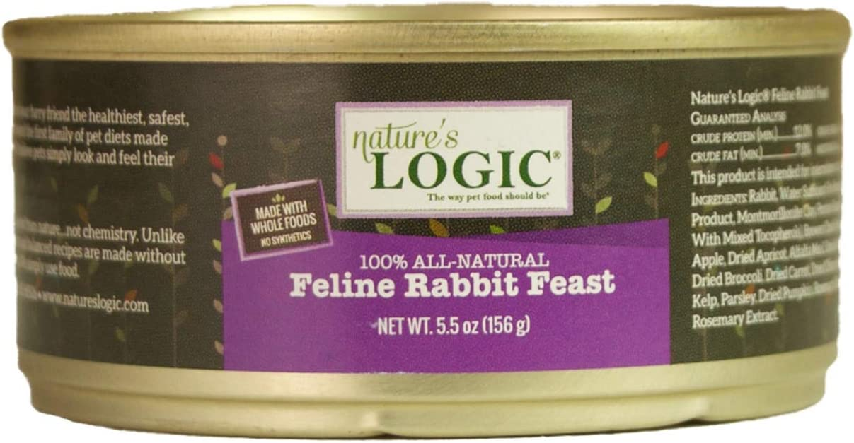 NATURE'S LOGIC Feline Rabbit Feast Canned Food, 5.5 oz. cans (12 cans in a case)