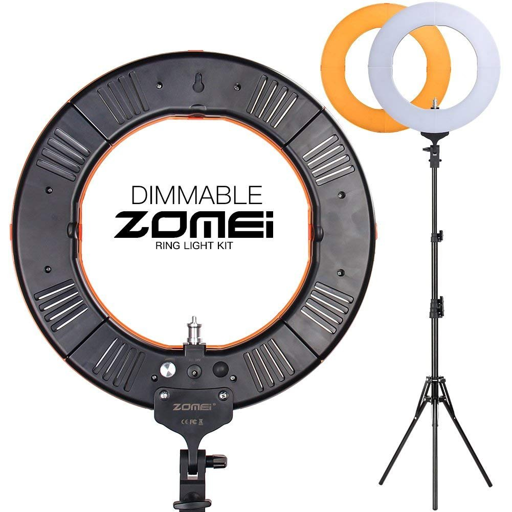 "10 in 1 Zomei 14-inch Dimmable LED Ring Light with 63"" Stand, Boom Studio Scissor Arm Stand, White Diffuser Cloth for Makeup Photography Videography YouTube Facebook"