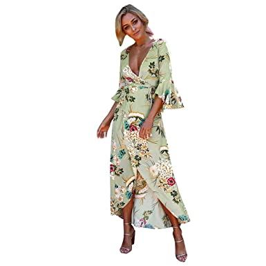 5c7ebef47ef41 Clearance Women Bohemian Print Midi V Neck Wrap Chiffon Loose Sleeve Plus  Size Prom Dress