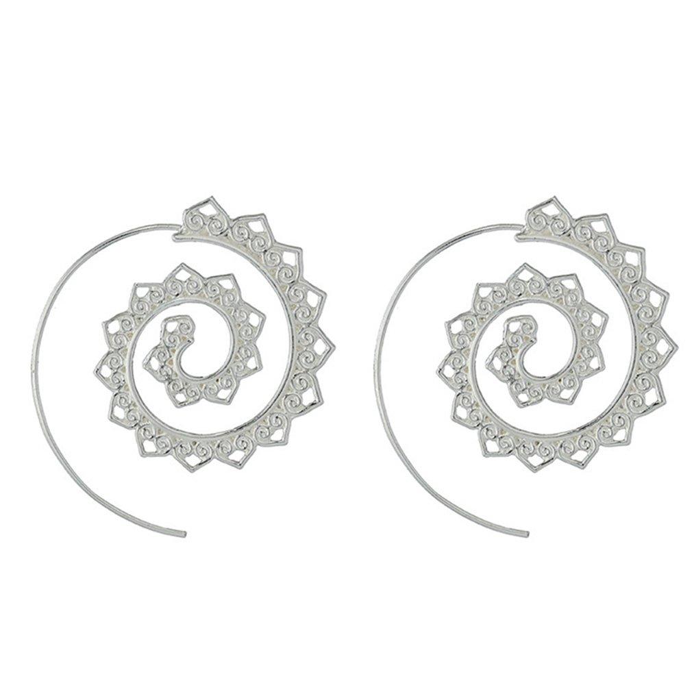 UNKE Round Swirl Maze Spiral Threader Earrings Jagged Circles Earrings