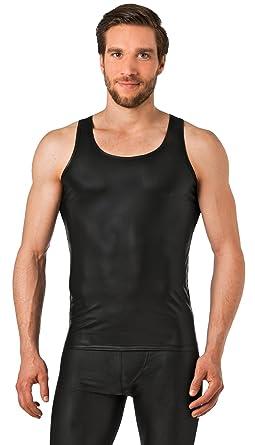 b12ee9d3f20719 Latex ähnliches Herren Unterhemd - Vinyl -Wetlock Unterhemd ohne Arm -  schwarz
