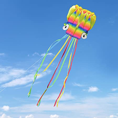 Kupton 5M Large Octopus Kite with Beautiful Tails for Kids and Adults, Easy to Fly for Children's Outdoor Games and Activities