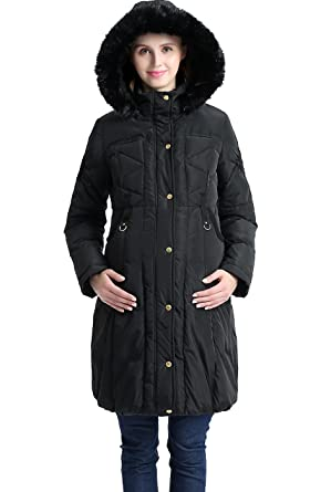 1d5320a595 Momo Maternity Women s Minnie Hooded Down Puffer Coat at Amazon ...