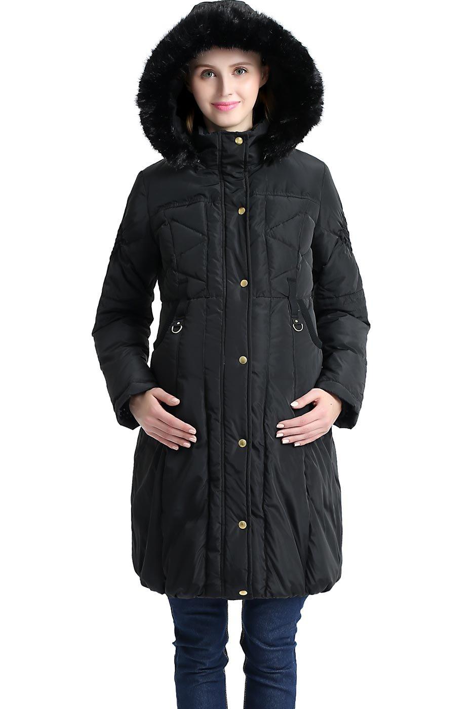 Momo Maternity Minnie Hooded Down Puffer Coat- Black L