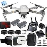 DJI Mavic Pro Platinum Quadcopter Drone Fly More Combo Pack 4K Camera + Wi-Fi ,3 Batteries, DJI Custom Case , Charging Hub , Three Piece Multi Coated Filter Kit VR Goggles Virtual Reality Experience