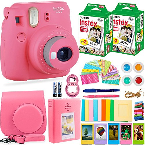 Smartphone Accessory Bundle Kit (FujiFilm Instax Mini 9 Instant Camera + Fuji Instax Film (40 Sheets) + Accessories Bundle - Carrying Case, Color Filters, Photo Album, Stickers, Selfie Lens + MORE (Flamingo Pink))