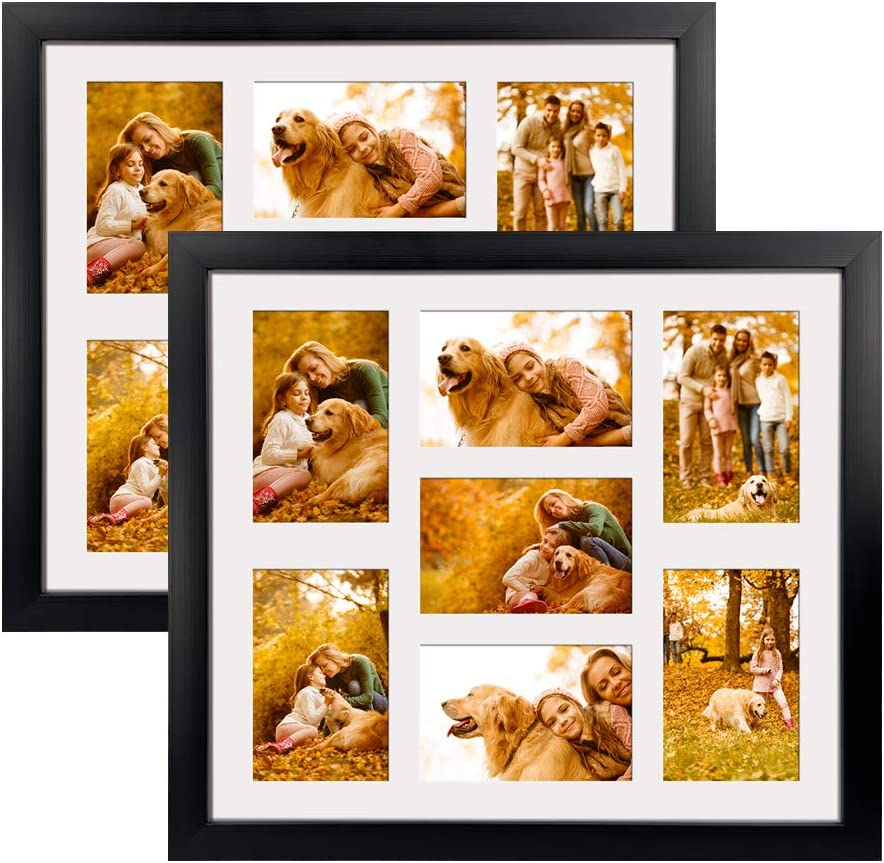4x6 Picture Frames Collage with 7 Openings Matted Wall Hanging, Multi Photo Frame Collage for Family Pictures Wall Decor, Black, Set of 2