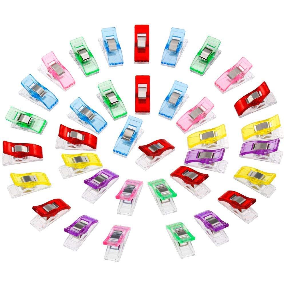Anpro 60PCS Clips Pinces DIY Pince 2.7   1.0   1.5cm en ABS Reliure Couture  Artisanat 6 Couleurs Rose,Rouge,Bleu,Jaune,Violet,Vert aa2b80b1d74