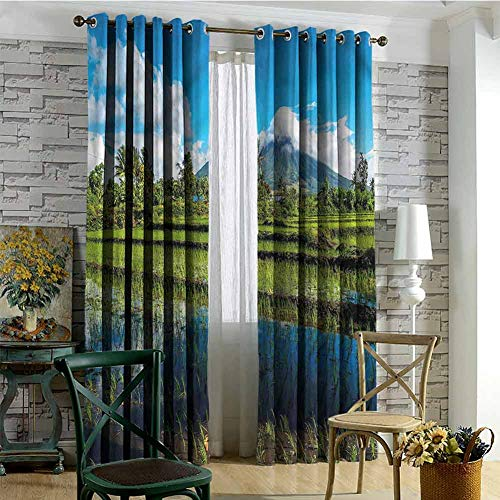 nooweihome Curtains for Sliding Glass Door Volcano,Mayon Mountain Philippines Bedroom Boys Room Decor 96 x L96 Inch