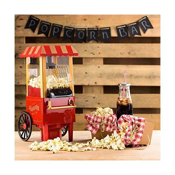 Gadgy Popcorn Machine - Retro Macchina Pop Corn Compatta, Aria Calda Senza Olio Grasso 7