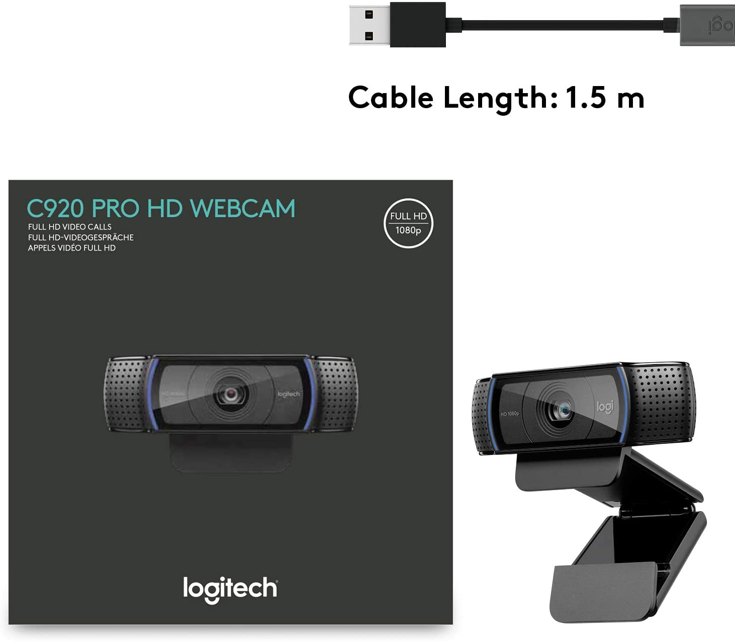 Logitech C920 Pro Webcam Full 1080p 30fps Video Calling Clear Stereo Audio Light Correction Works with Skype Zoom FaceTime Hangouts Mac Laptop Macbook Tablet Black