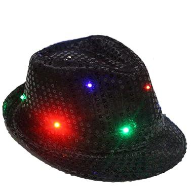 katomi Hut mit LED-Lichtern, blinkend, Jazz-Stil, Requisit (schwarz ...