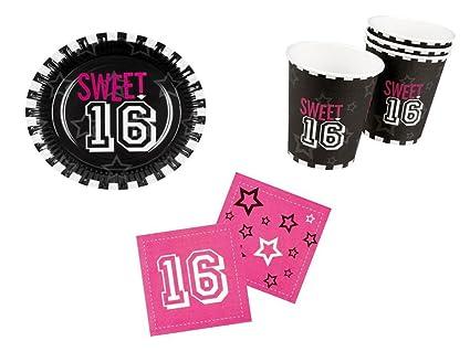 Party Fiesta Set 16º cumpleaños niña rosa 24 piezas Juego ...