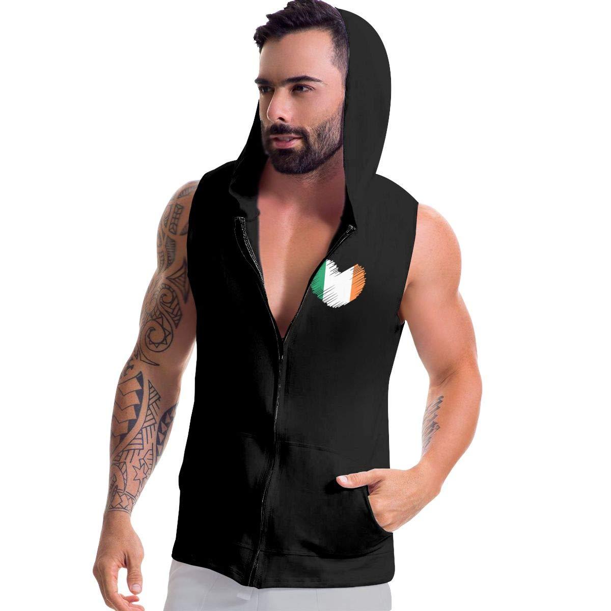 Irish Flag in Heart Shape Zip Up Vest Mens Sleeveless Sweatshirt