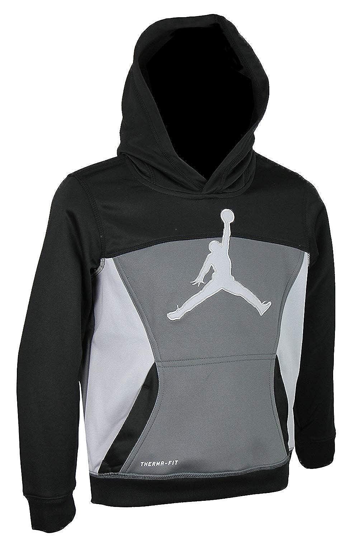 Nike Boys Air Jordan Jumpman Full Zip Therma fit Hoodie Black, Dk Gray (Size 5)
