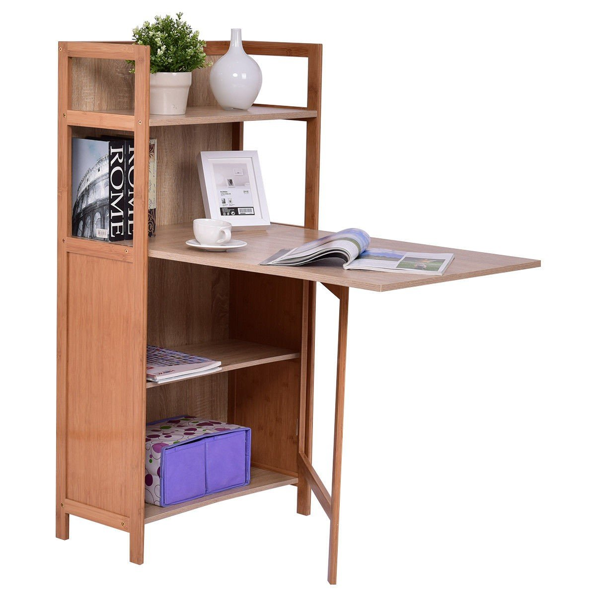 MD Group Desk Cabinet Convertible Wood Folding 2-in-1 Contemporary Style with Bookshelf