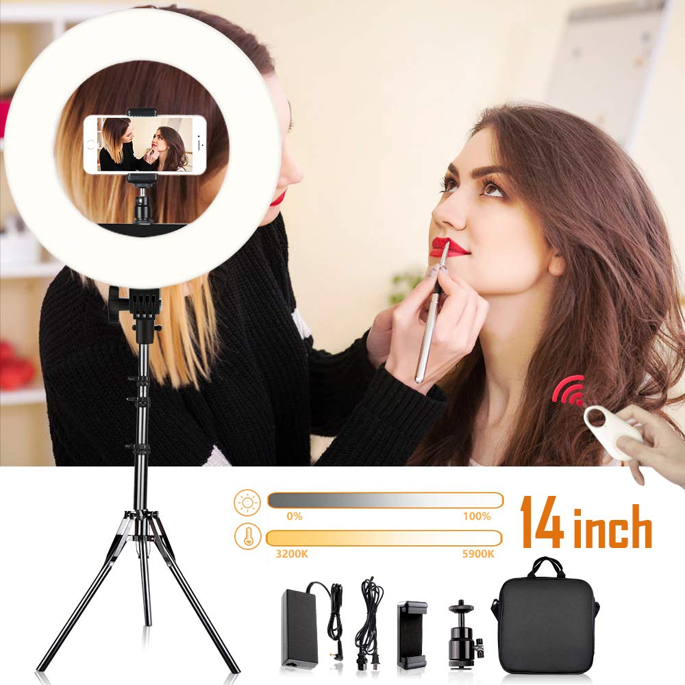 Ring Light, TRAVOR Upgrade 14-inch Adjustable 3200-5900K Bi-Color YouTube Makeup Light Dimmable 384 LED Circle Light Kit with 79in Light Stand Phone Holder Remote for Camera Phone Video Photography