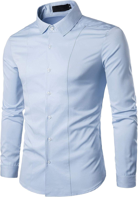 Showu Camicia da Uomo a Maniche Lunghe Camicia Business da Uomo Slim Fit Camicia Casual con Maniche Lunghe,5 Colori
