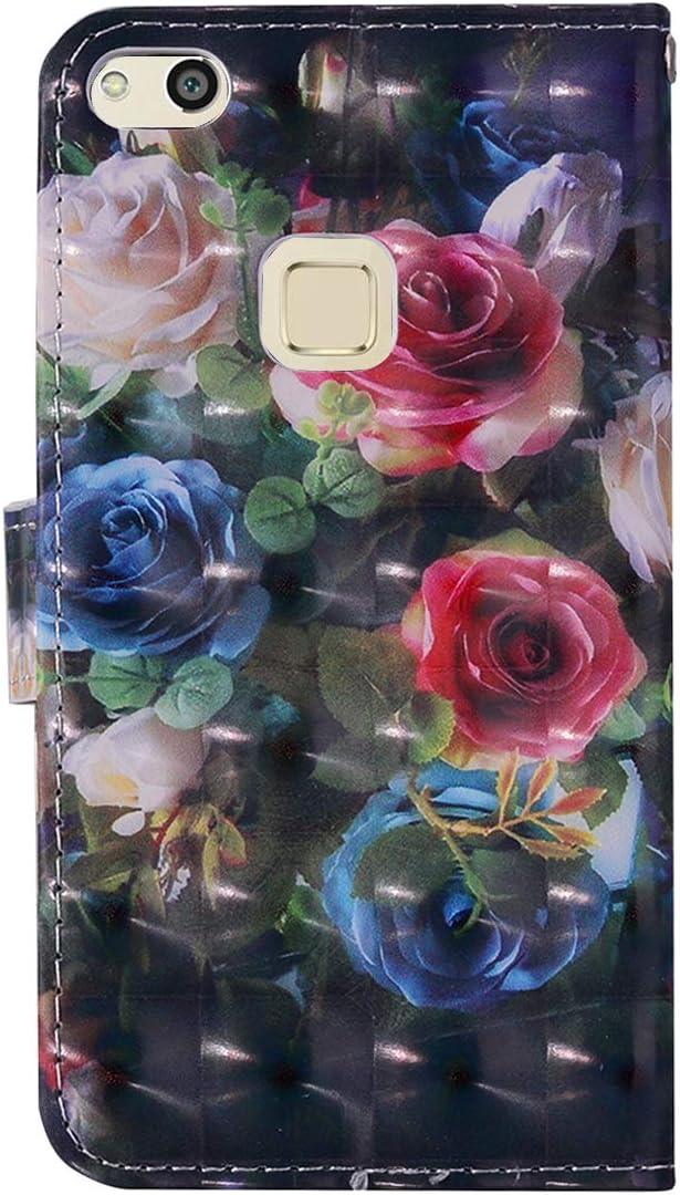 Blau Bl/ätter Surakey PU Leder H/ülle f/ür Huawei P10 Lite Handyh/ülle Handytasche 3D Gemalt Muster Glitzer PU Tasche Schutzh/ülle Flip Case Brieftasche Etui Wallet Case St/änder Kartenf/ächer
