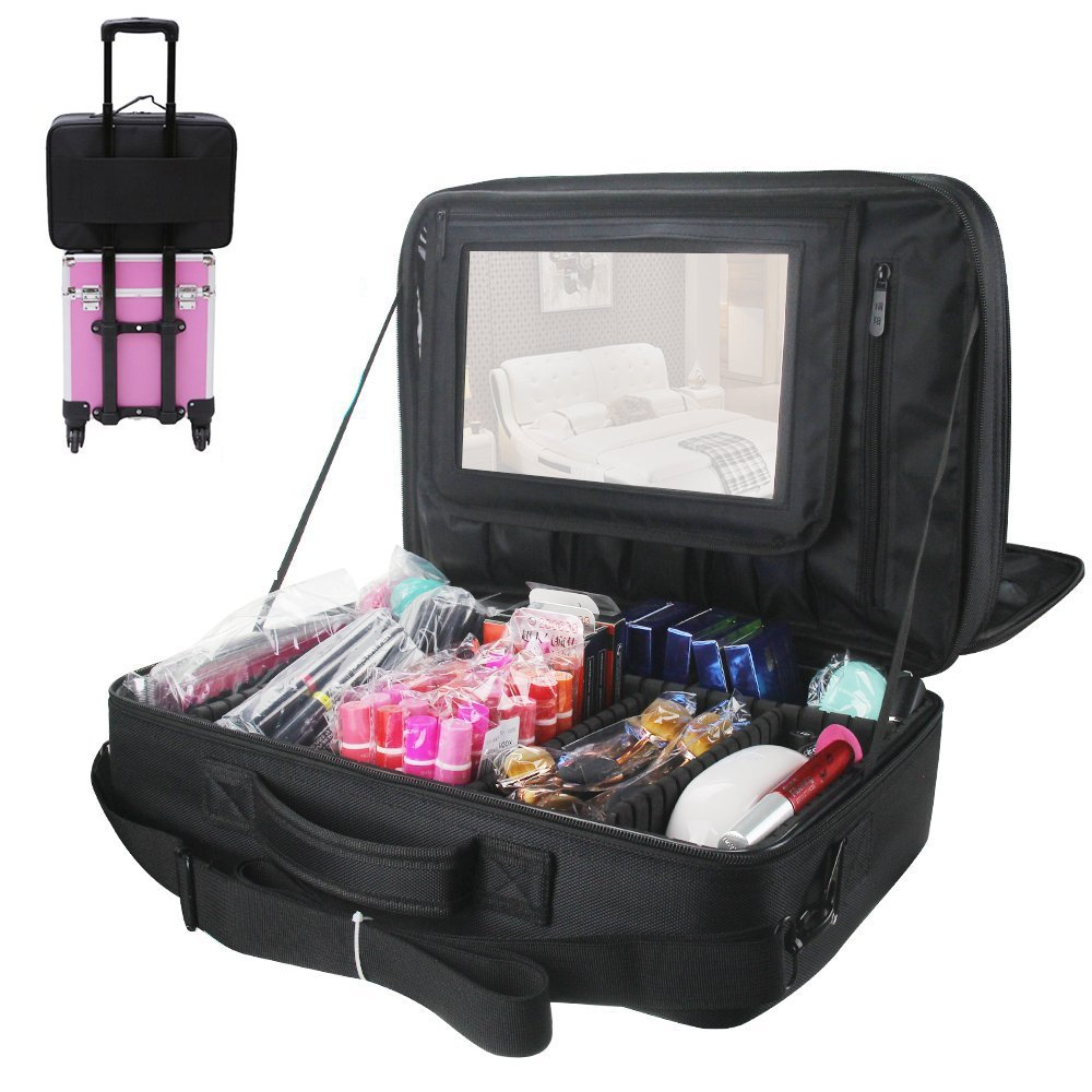 Relavel 3 layer MultiFunctional Professional Makeup Train Case Super Large Makeup Bag Organizer for Brush Hair Curler Salon Nail Beauty Tool Attach to Trolley with Mirror for Travel Black 17.7 inches by Relavel