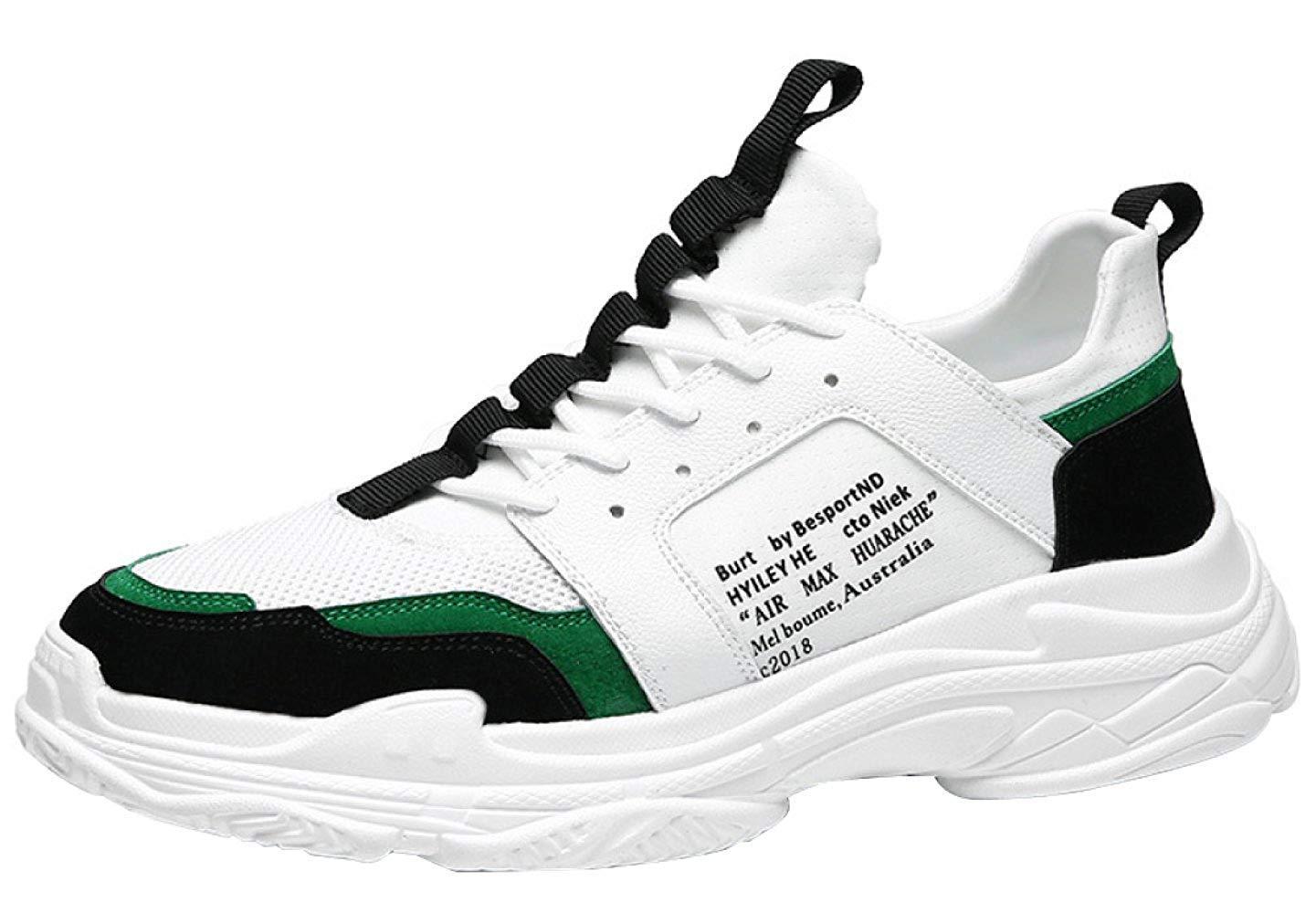 FuweiEncore Herrenmode Sportschuhe Retro-Casual Schuhe Atmungsaktives Mesh (Farbe   Grün, Größe   43EU)