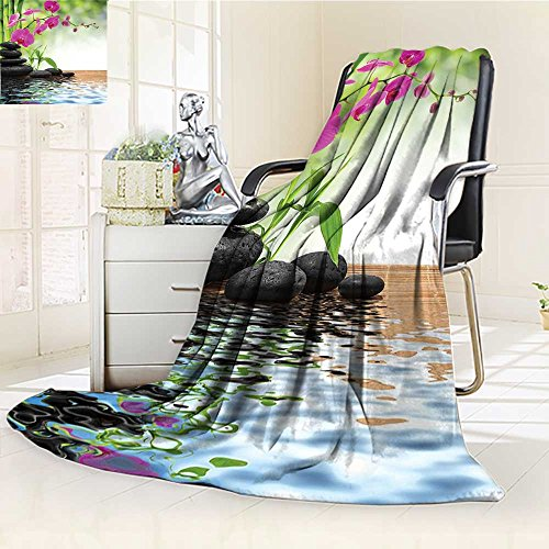 YOYI-HOME Digital Printing Duplex Printed Blanket Spa Decor Composition Bamboo Tree Floor Mat Orchid Stones Wellbeing Greenery Summer Quilt Comforter /W31.5 x H47 by YOYI-HOME