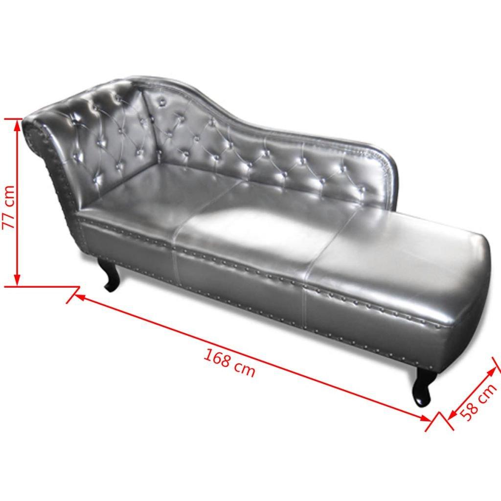 Sofá Plata,Chaise Longue, Cuero Sintético,sofas para salon,168 x 58 x 77 cm