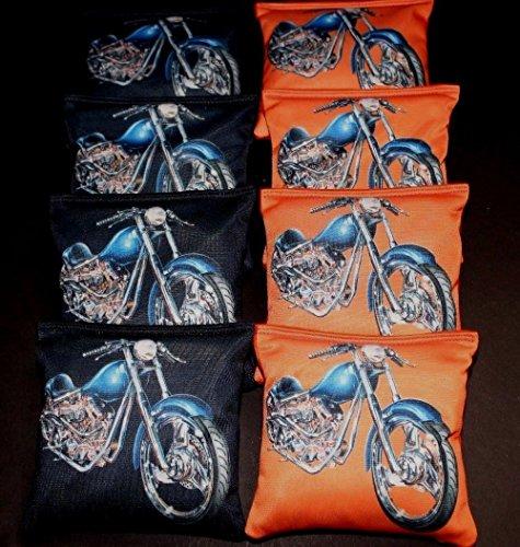 (MOTORCYCLE LOVERS HARLEY FANS ORANGE BLK 8ACA Regulation Cornhole Bean Bags B302)