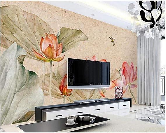 Pbldb Estilo Chino Loto Vintage Papel Tapiz 3D Mural, Sala De Estar Tv Sofá Pared Dormitorio Cocina Pared Papeles Decoración Para El Hogar-350X250Cm: Amazon.es: Bricolaje y herramientas