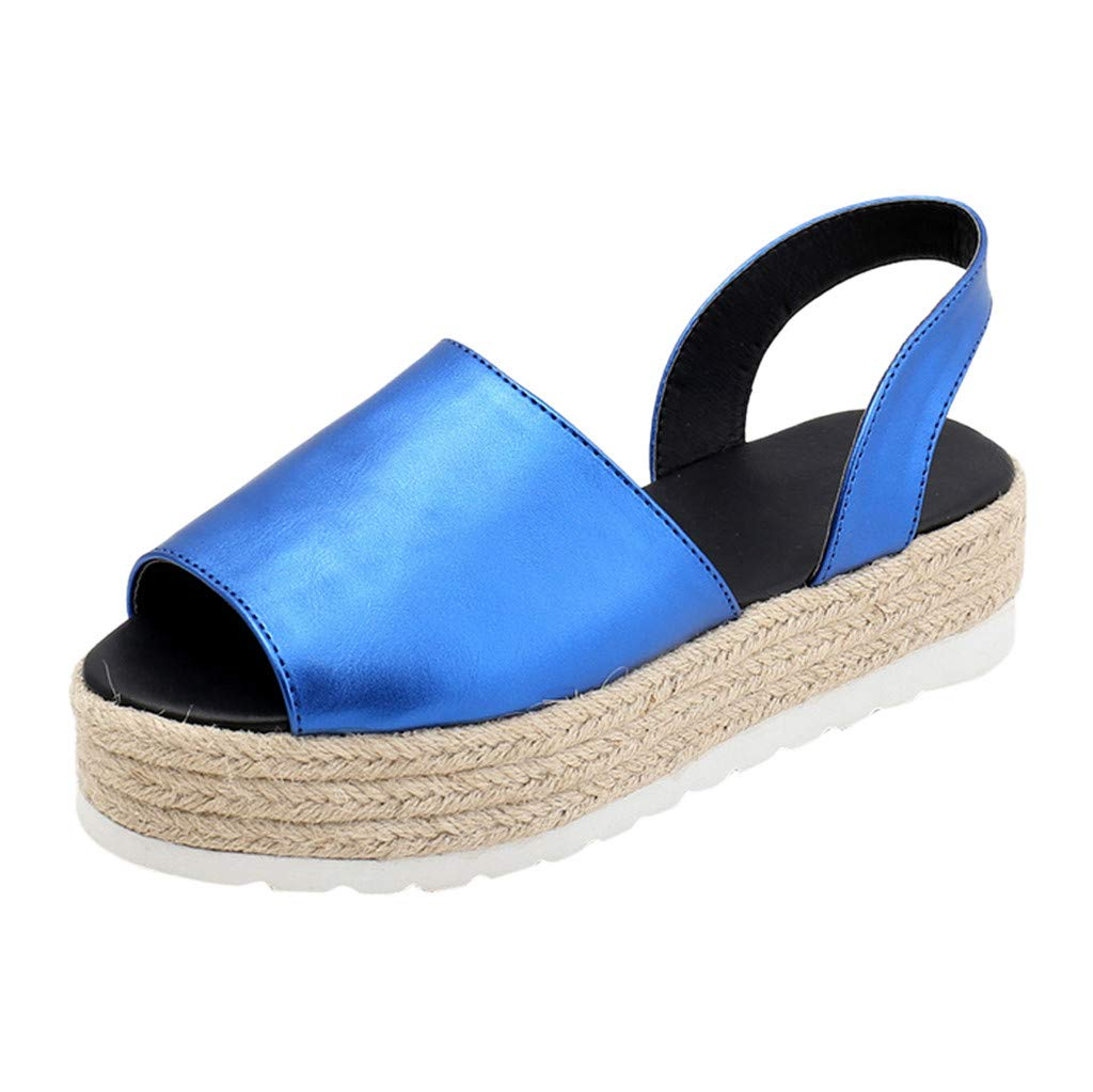 Women Sandals, LIM&Shop  Espadrille Sandal Flat Casual Slippers Ankle Strap Open Toe Leather Shoes Soft Sole Anti Skid Blue