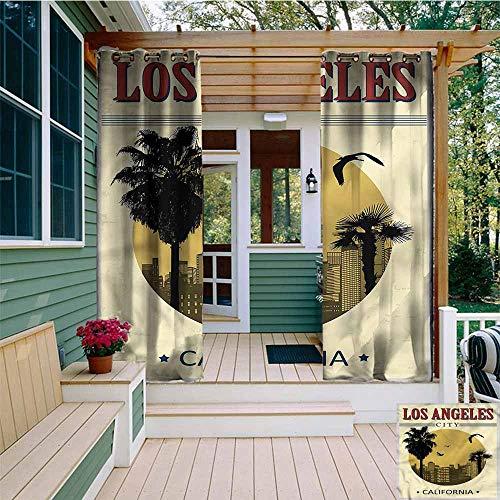 Beihai1Sun Outdoor Curtains,USA Vintage LA City California Tree,for Patio/Front Porch,W84x72L]()