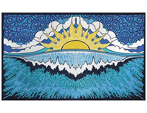Sunshine Joy Sun Wave Surf Tapestry Tablecloth Beach Sheet Wall Art 60x 90 Inches - Glow In The Dark - INCLUDES FREE STICKER (Glow In The Dark Tablecloths)
