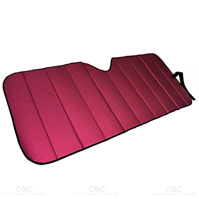 Motor Trend Front Windshield Sun Shade - Accordion Folding Auto Sunshade for Car Truck SUV - Blocks UV Rays Sun Visor Protector - Keeps Your Vehicle Cool - 58 x 24 Inch (Red): Automotive