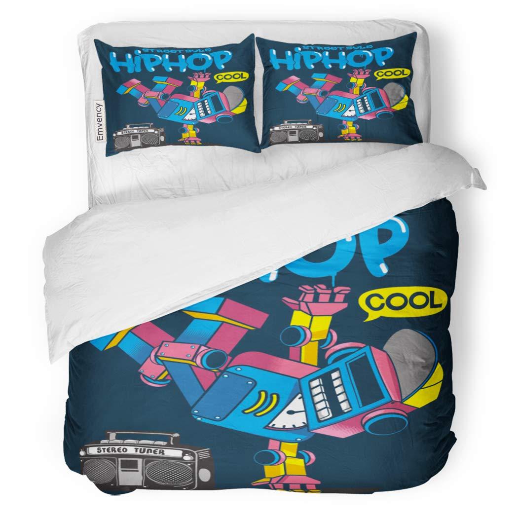 SanChic Duvet Cover Set Hiphop Cool Retro Robot Doing Hip Hop Dance Decorative Bedding Set with Pillow Sham Twin Size