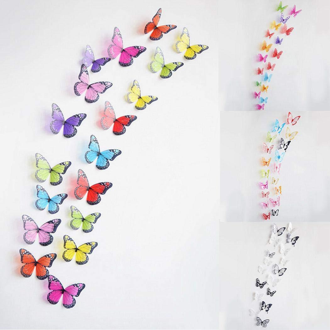 NISELS Autoadesivi della parete di arte della stanza di casa della farfalla del PVC 3D di 18PCS le decorazioni di DIY