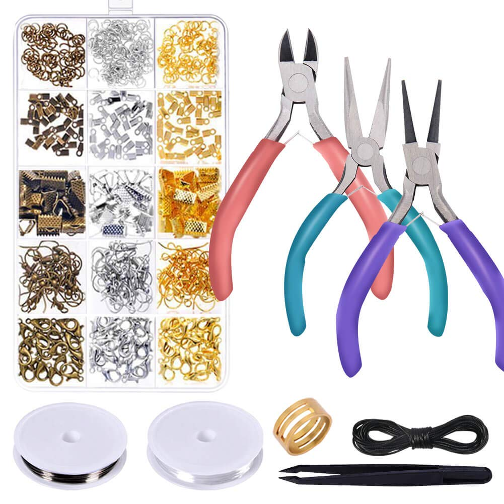 Anezus Jewelry Repair Kit with Jewelry Pliers, Jewelry Making Tools, Beading String and Jewelry Making Supplies for Jewelry Repair, Jewelry Making and Beading by anezus