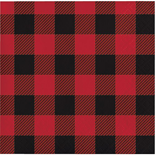 Creative Converting 321822 192 Count Beverage Paper Napkin, Buffalo Plaid