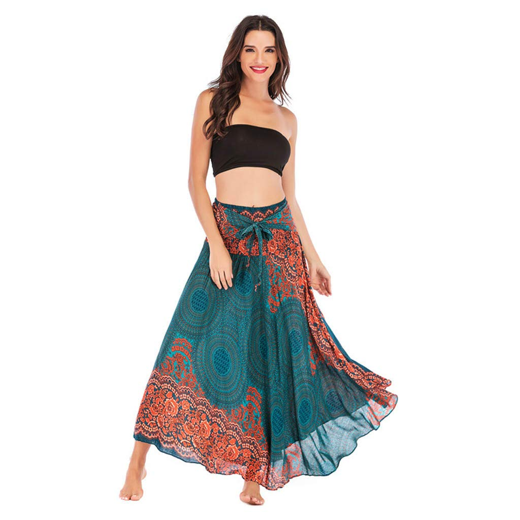 Tantisy ♣↭♣ Women's High-Waisted Boho Asymmetrical Hem Tie up Long Maxi Print Wrap Skirt Ladies Flowy Chiffon Beach Skirts Green