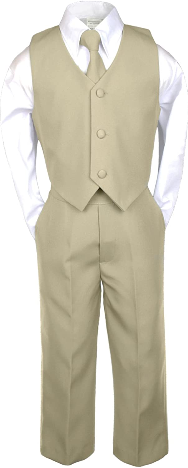 Unotux 6pc Boys Khaki Vest Sets Suits with Satin Lime Green Necktie Baby to Teen