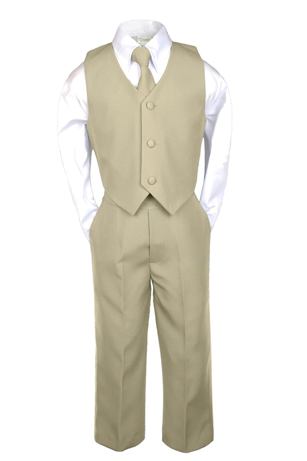 3T Unotux 7pc Boys Khaki Suits with Satin Orange Vest Set Necktie from Baby to Teen