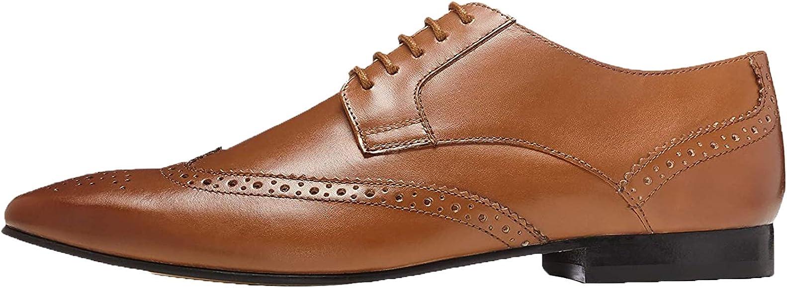 Marca Amazon find. Zapato Blucher de Piel con Calados para Hombre