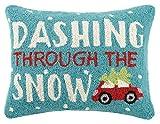 Peking Handicraft Dashing Through the Snow Hook Wool Lumbar Pillow, Multicolored