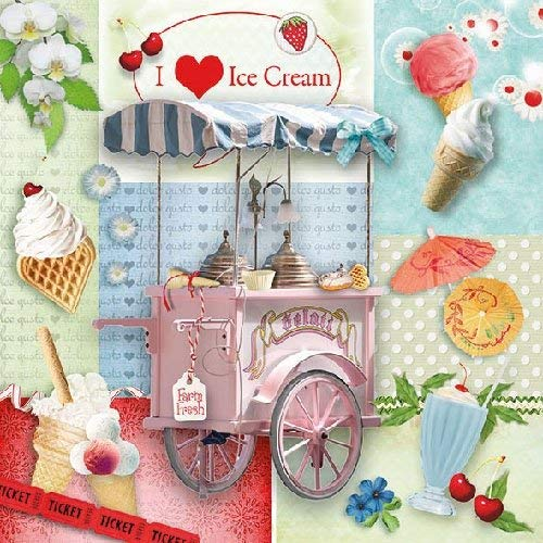 I Love Ice Cream 4 Individual Napkins for Craft and Napkin Art. 33 x 33cm 4 Paper Napkins for Decoupage 3-ply