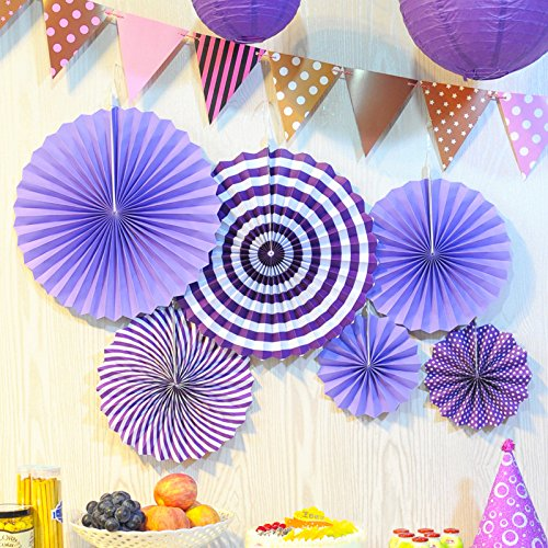 Ovee Lando Purple Fans Party Supplies Wedding decor Set of 6
