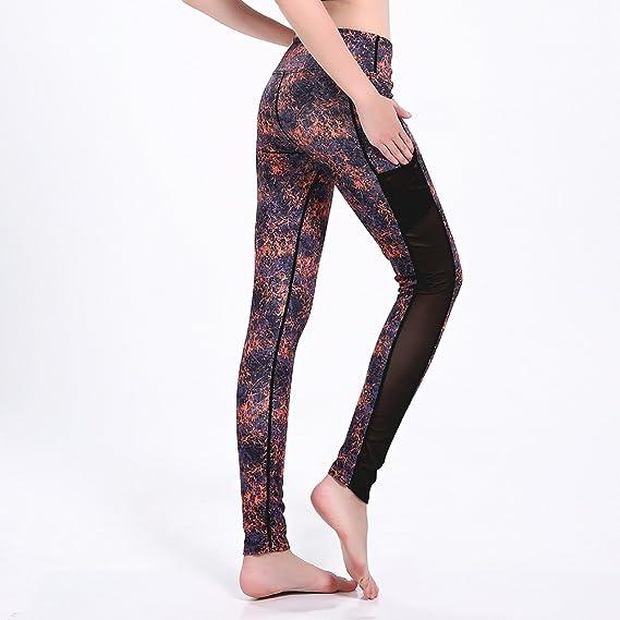9218a4acf013c Lsm-Yoga Pants Women's Leggings NET Yarn Stitching Stretch Yoga Sport Pants  Fitness Nine Points