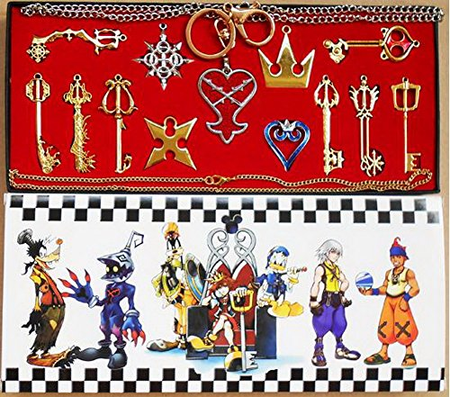 XCOSER® Kingdom Hearts Keyblade Sora Weapon Keychain Pendant for Collection Golden 13pcs