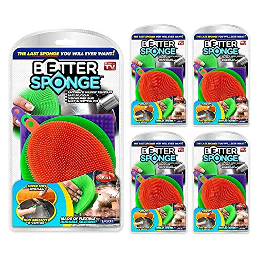 New! As Seen On TV BETTER SPONGE Silicone Mildew-Free Sponges BetterSponge (5 pack) by ACA