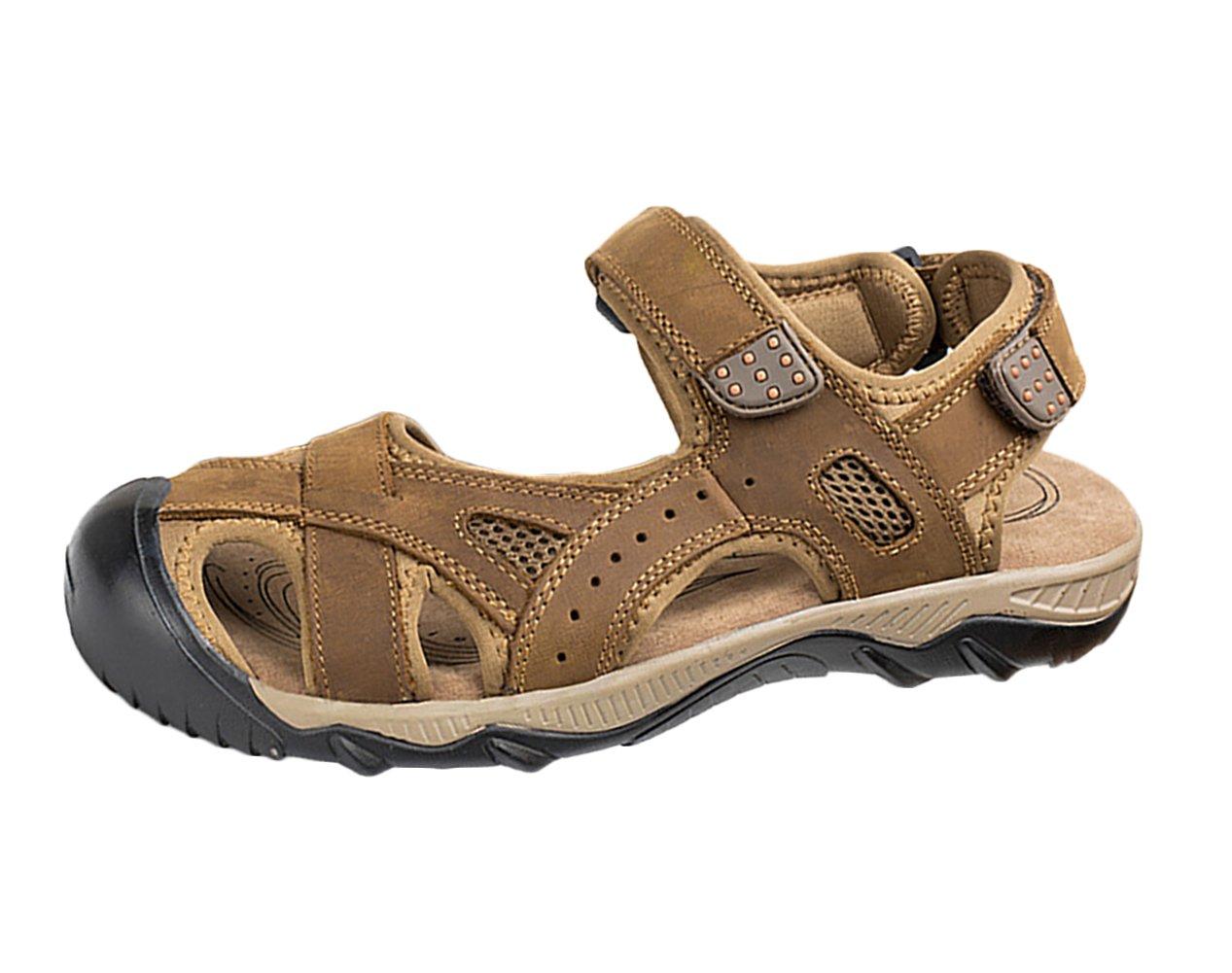 SK Studio Sandalias Hombre Montaña de Cuero Outdoor Transpirables Zapatos Con Velcro 43 EU|Marrón Claro